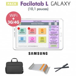Pack Facilotab L Galaxy 10,1p WiFi/4G - 32 Go - Android 7 + Support + Sacoche + 2 Stylets (Tablette simplifiée pour Seniors)