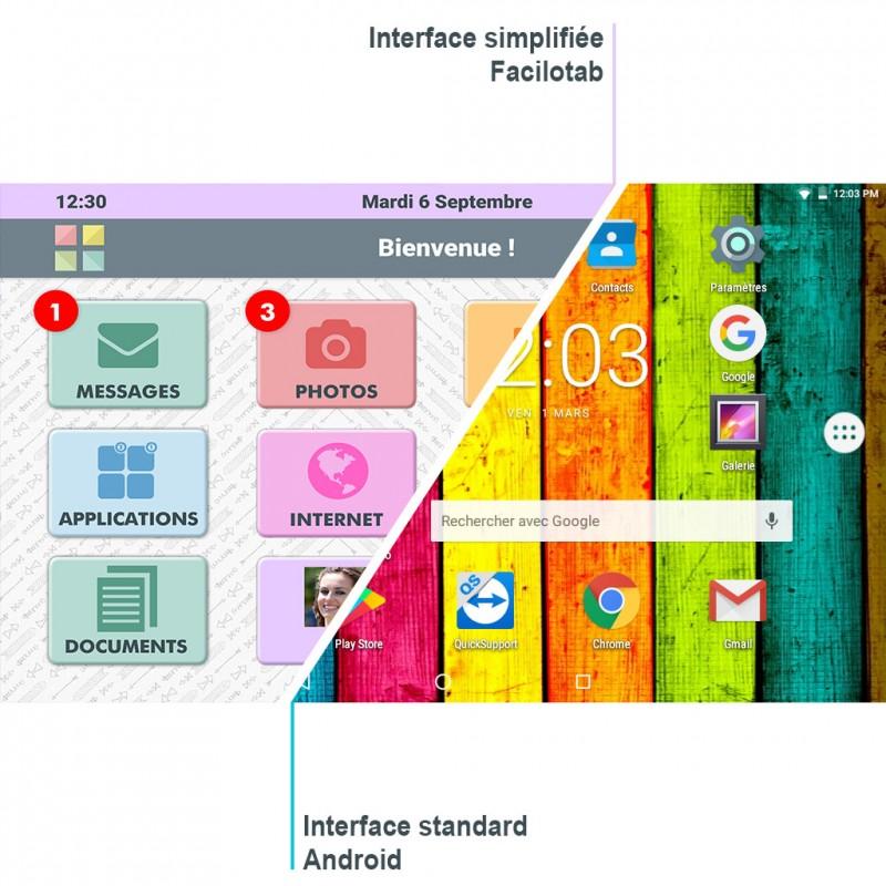Différence Interface Android et système simplifié Facilotab