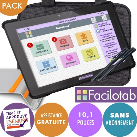 Pack Facilotab L Onyx + Support + Sacoche + Stylet