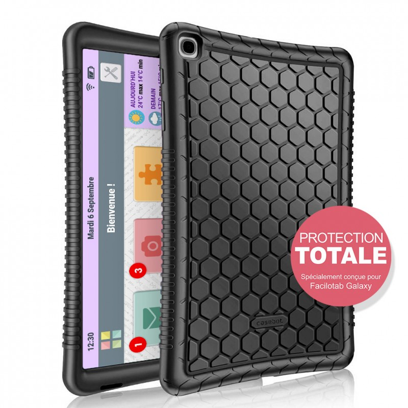 Coque silicone de protection pour tablette Facilotab L  Galaxy Noire