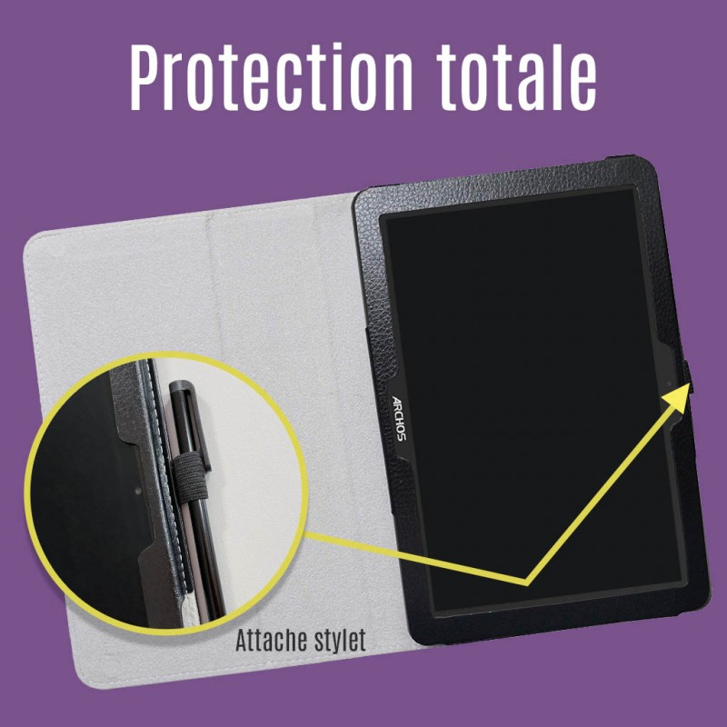 Etui en similicuir pour la tablette Facilotab L 2019 (noire)
