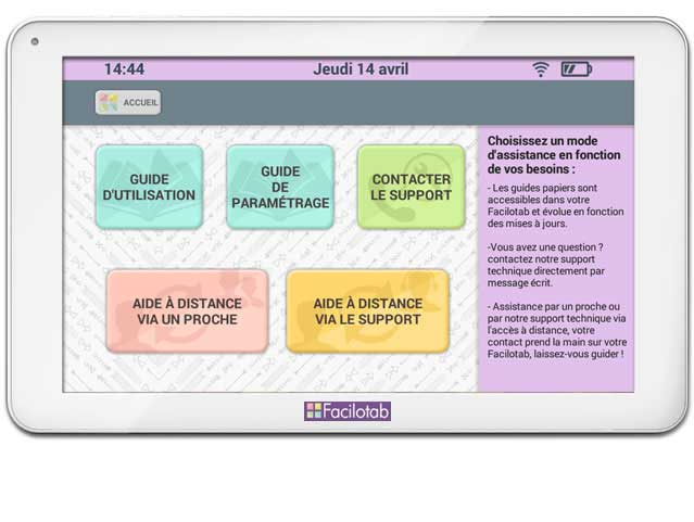 Assistance pour la tablette Facilitab