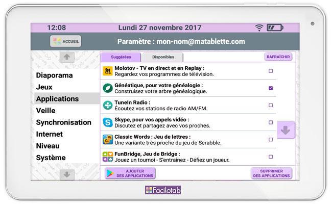 Ecran des applications