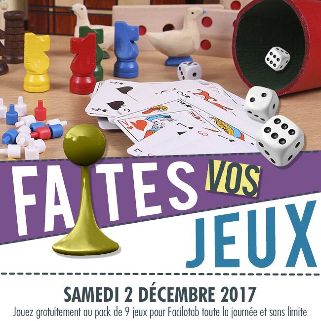 Samedi 2 décembre : jouez à tous les jeux Facilotab gratuitement